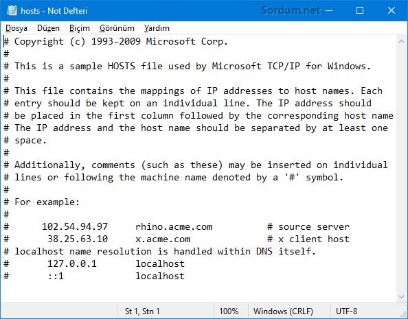 Hosts dosya içeriği