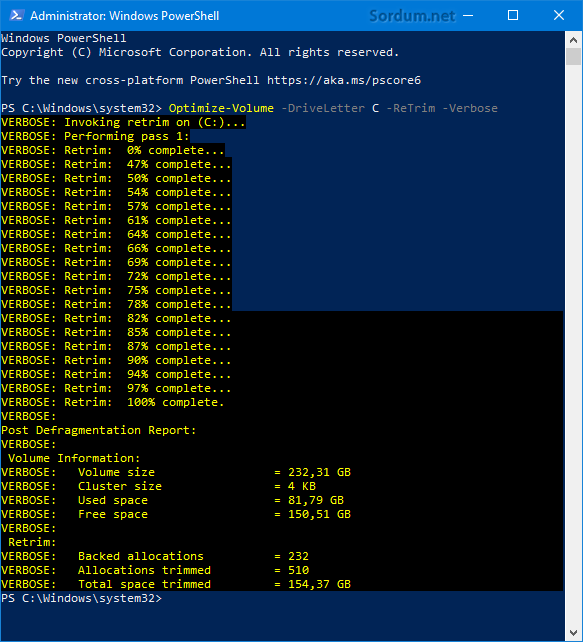 Powershell ile trim