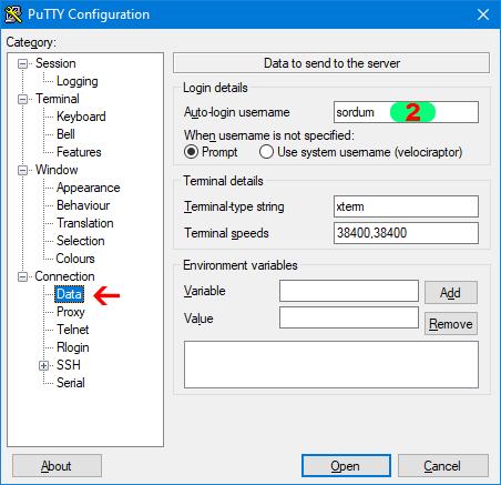 putty otomatik login için kullanıcı ismi
