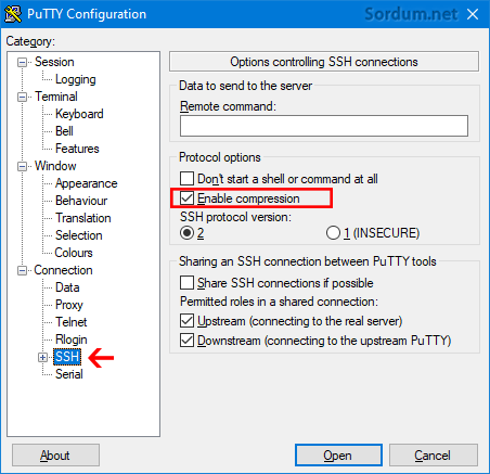 putty enable compression
