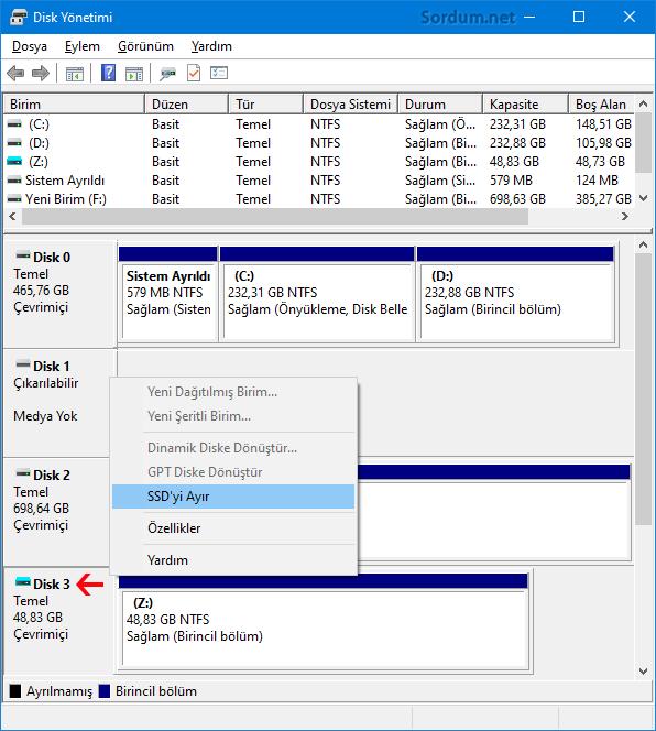 Disk yönetimi ile SSD yi ayır
