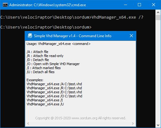 VHD manager cmd desteği