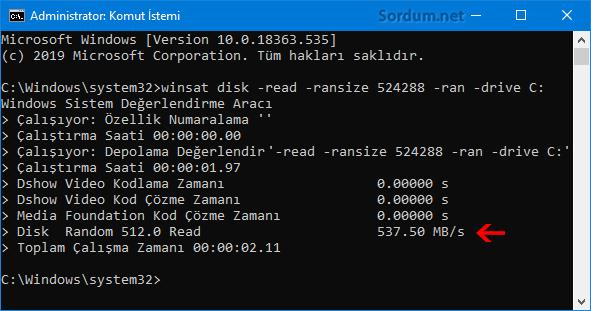Winsat ile diskin okuma hızını test et