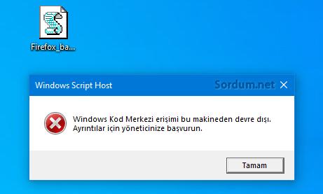Windows script host devre dışı