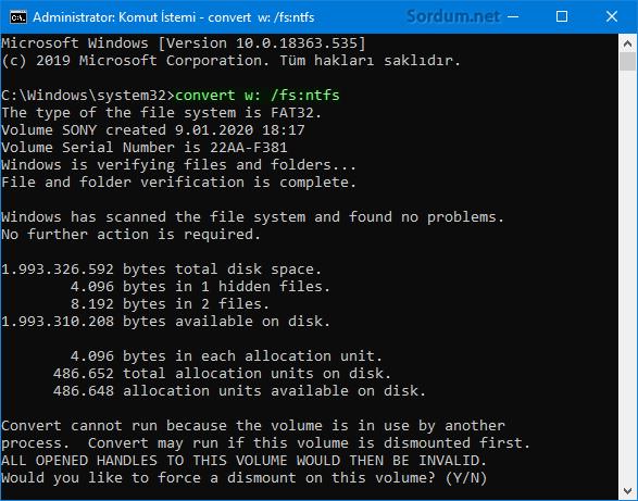 Raw ı NTFS ye dönüştür
