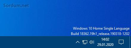 Windows sürüm bilgisi masaüstünde gösterilsin