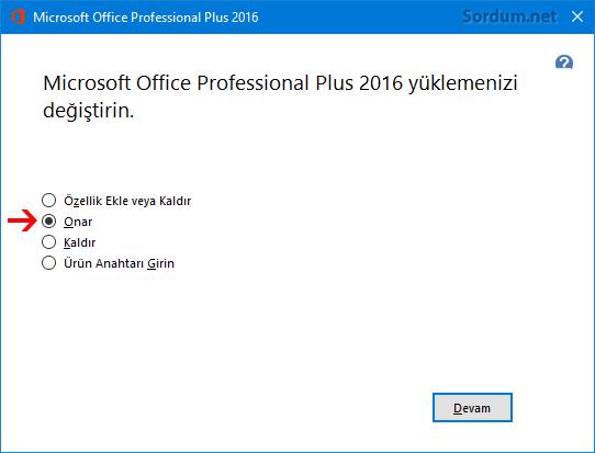 Office yüklemesini onarın