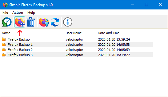 simple firefox backup arayüzü