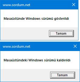 vbs ile msaüstüne windows sürüm numarası