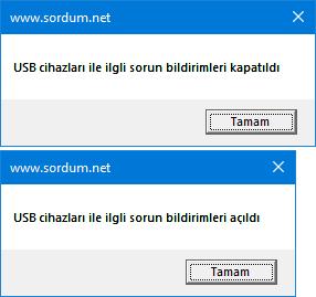 Vbs ile USB cihazlarının sorun bildirimlerini kapatalım