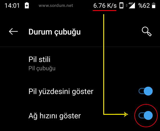 Android durum çubuğunda internet hızı