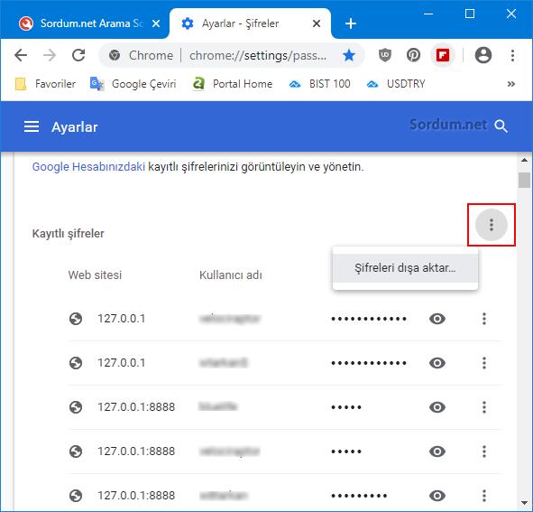 Chrome şifreleri dışa aktar