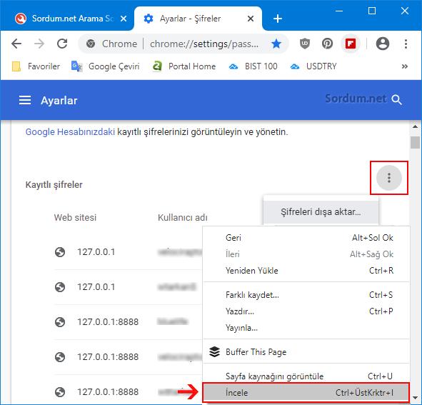 Chrome şifreleri dışa aktar incele