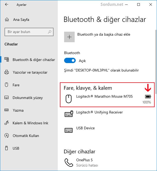Windows 10 da klavye ve farede kalan pil seviyesi