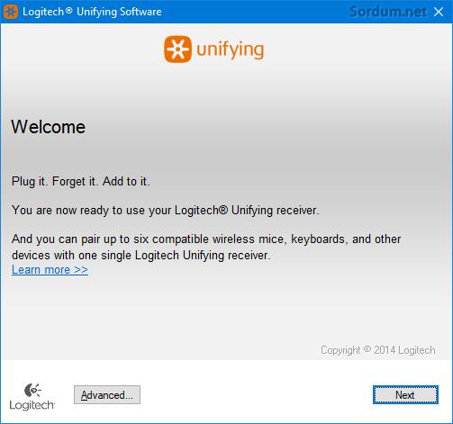 Logitech Unifying kurulum ekranı