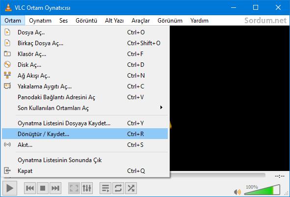 VLC dönüştür Kaydet