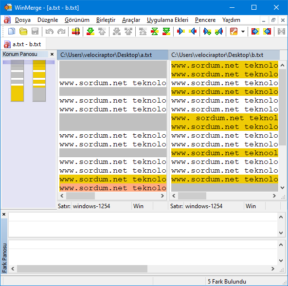 winmerge yazılımı ile karşılaştırma