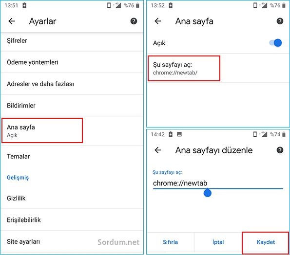 Android chrome anasayfa değiştir