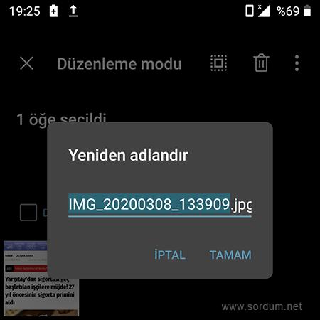 Android telefonda resmin ismini değiştir