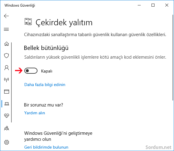 Windows 10 bellek bütünlüğü