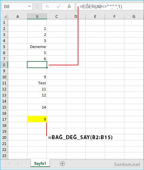 Excelde rakam bulunan hücreleri sayan formül