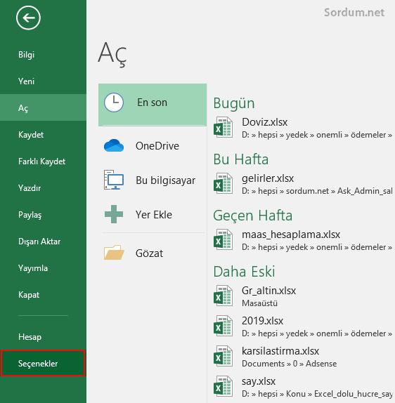 Excel seçenekler
