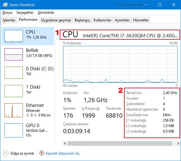Windowsta işlemci bilgisi