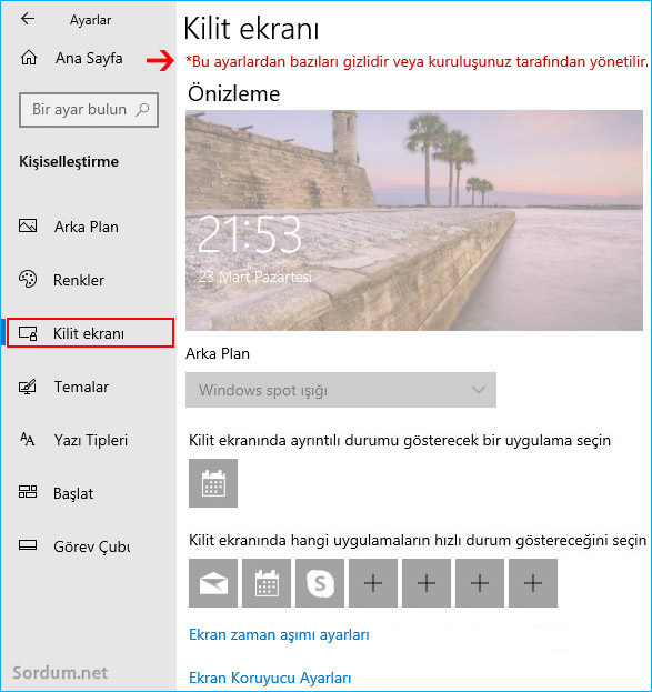 Kilit ekranı ayarları yasak