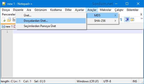 Notepad Plus ile Md5 veya sha-256 hesaplama