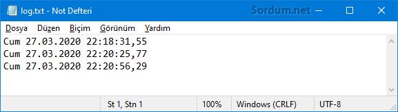Windows sistem açılış Log kayıtları