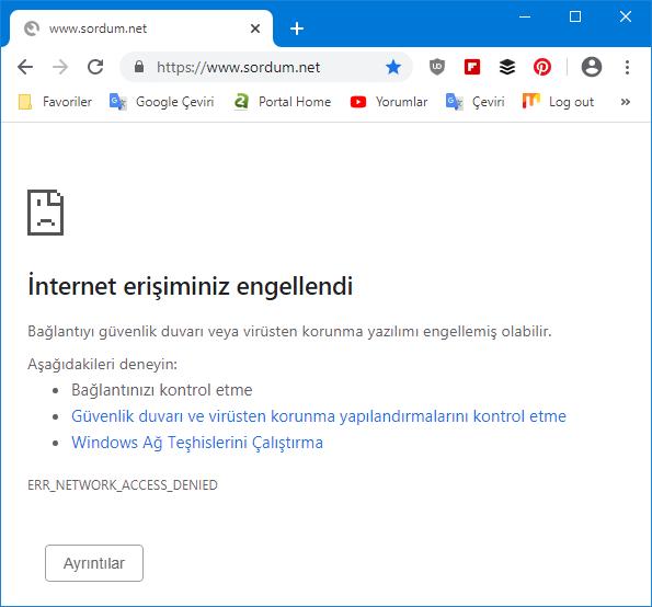 web sitesi ip si yasaklandı erişim yok