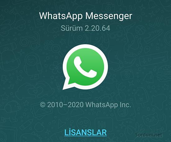 whatsapp sürümü nasıl bulunur