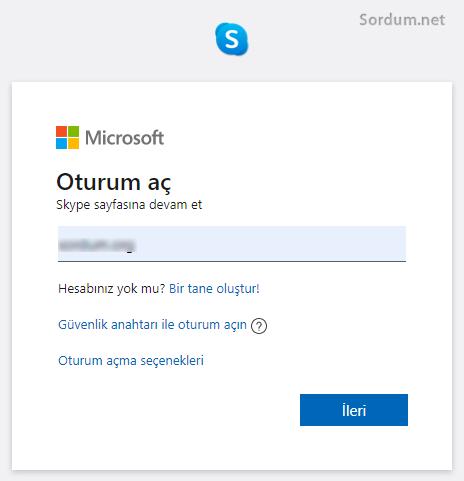Skype hesabına giriş ekranı