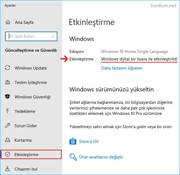 Windows etkinleştirilmişmi