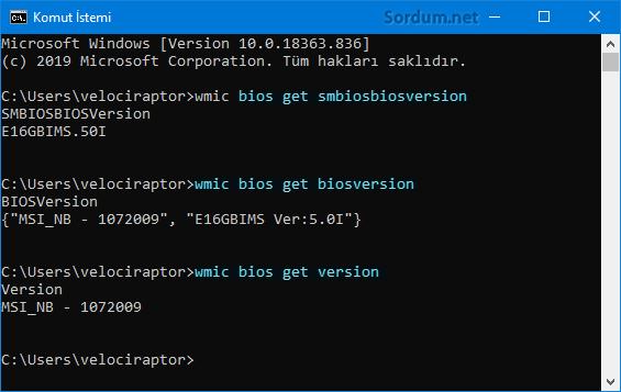 Cmd komutu ile BIOS bilgilerini öğren