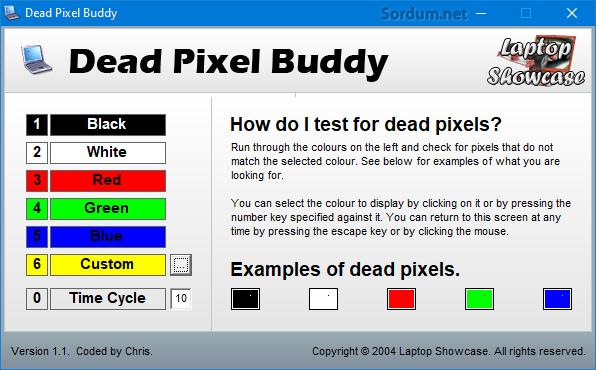 Dead Pixel Buddy arayüzü