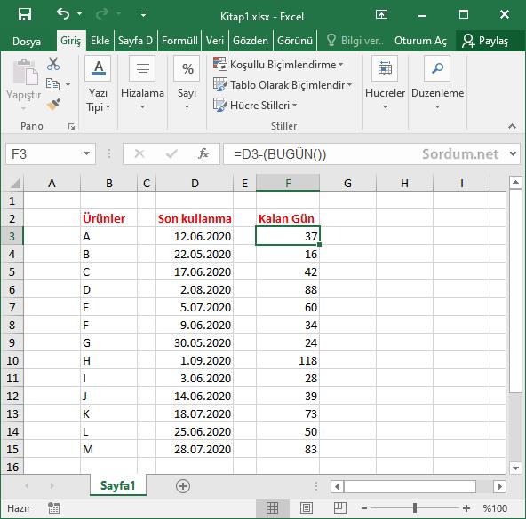 Excel ile son kullanma tarihini hesaplamak