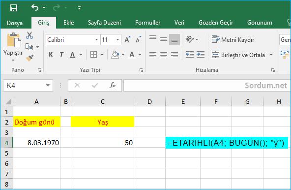 excelde Etarihli formülü ile doğumgünü hesapla