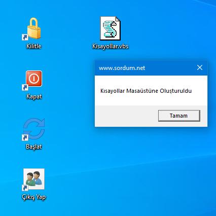 Vbs ile Bilgisayarı kapat kısayolu