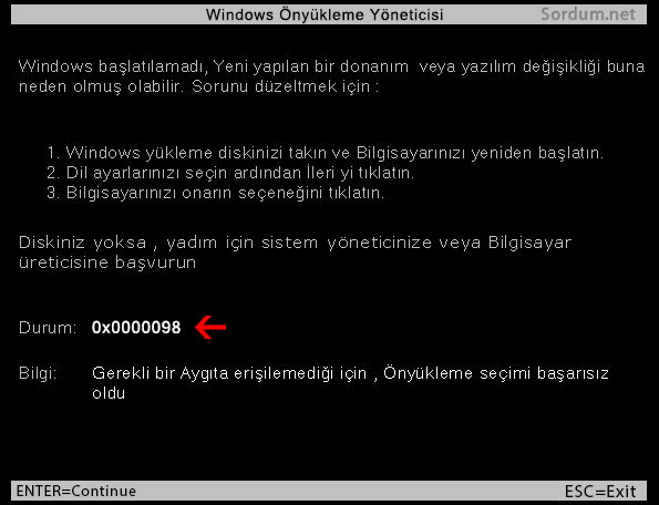 Windows açılmıyor 0x0000098 hatası