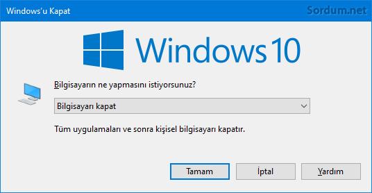 Windowsu kapat penceresi