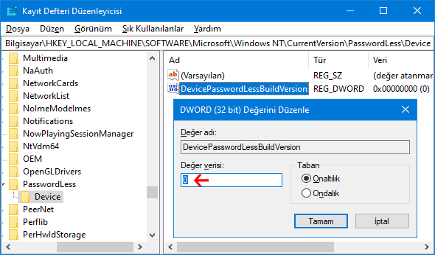DevicePasswordLessBuildVersion registry anahtarı