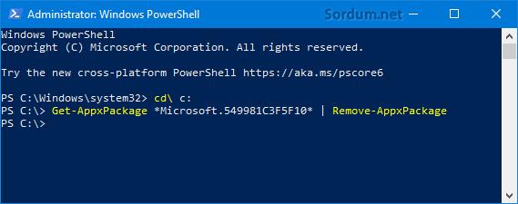 Cortanayı Powershelll ile kaldır