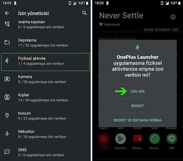Android fiziksel aktivite izni