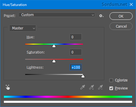Photoshop Hue - saturation