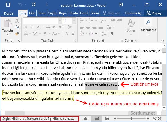 Word dosyasında seçim kilitli değiştirilemez