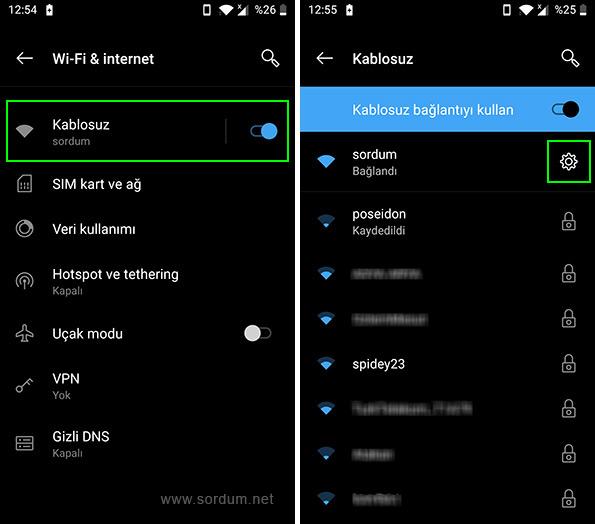Android kablosuz bağlantı ayarları
