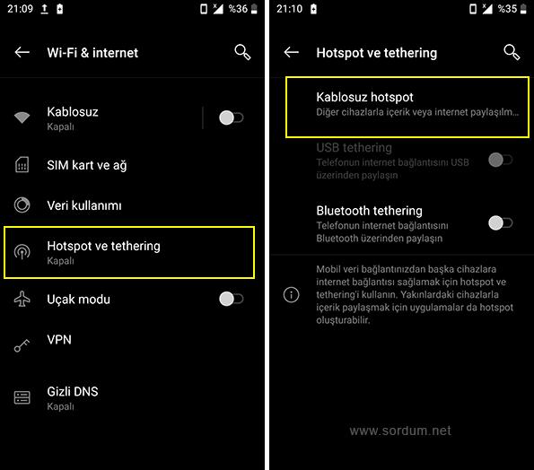 Android kablosuz hotspot