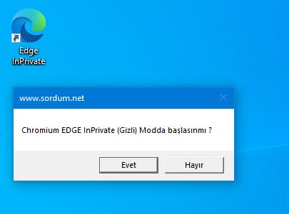 Chromium edge Gizli Mod (Inprivate) Kısayolu