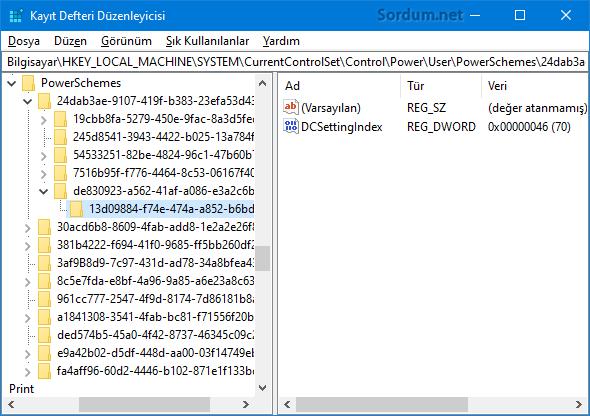 Güç tasarrufu sırasında ekran parlaklığını kısma registry kaydı